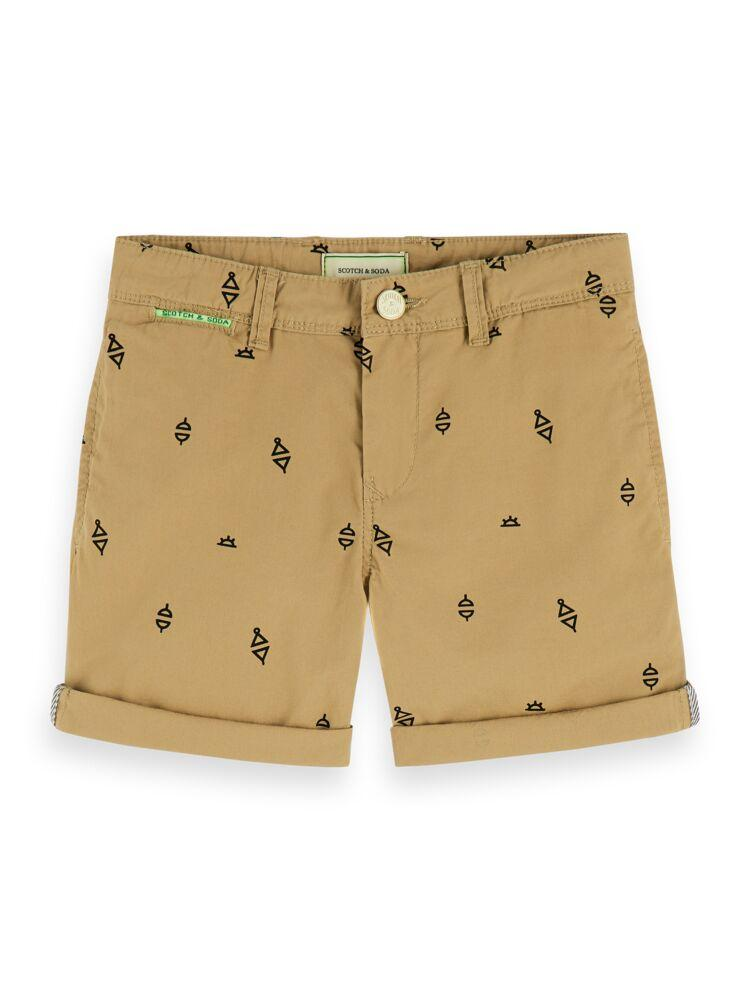 Cotton Chino Shorts with Printed Patterns BOYS CLOTHING SCOTCH SHRUNK