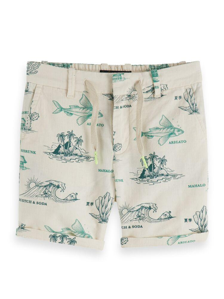 Cotton Linen Shorts with Surf Print BOYS CLOTHING SCOTCH SHRUNK