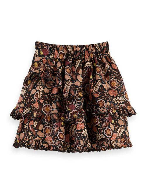 Crispy Cotton Ruffle Skirt with Autumn Print GIRLS CLOTHING SCOTCH RBELLE