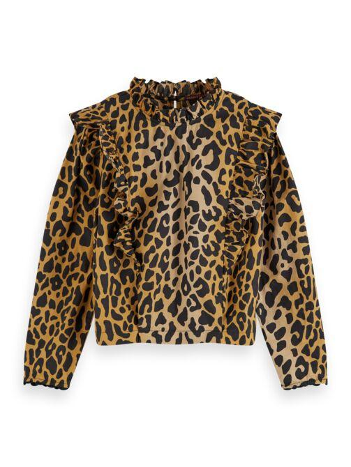 Leopard Print Long Sleeve Top with Ruffle GIRLS CLOTHING SCOTCH RBELLE