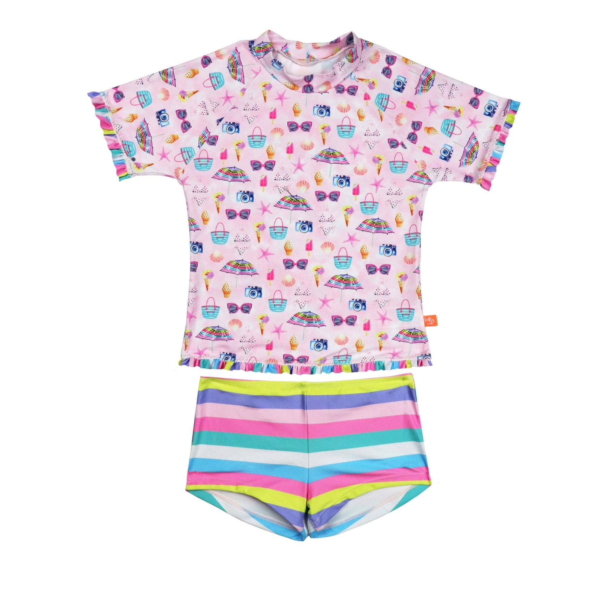 Miss Seaside S/S Rashvest Set LITTLE GIRLS SWIMWEAR SALTY INK