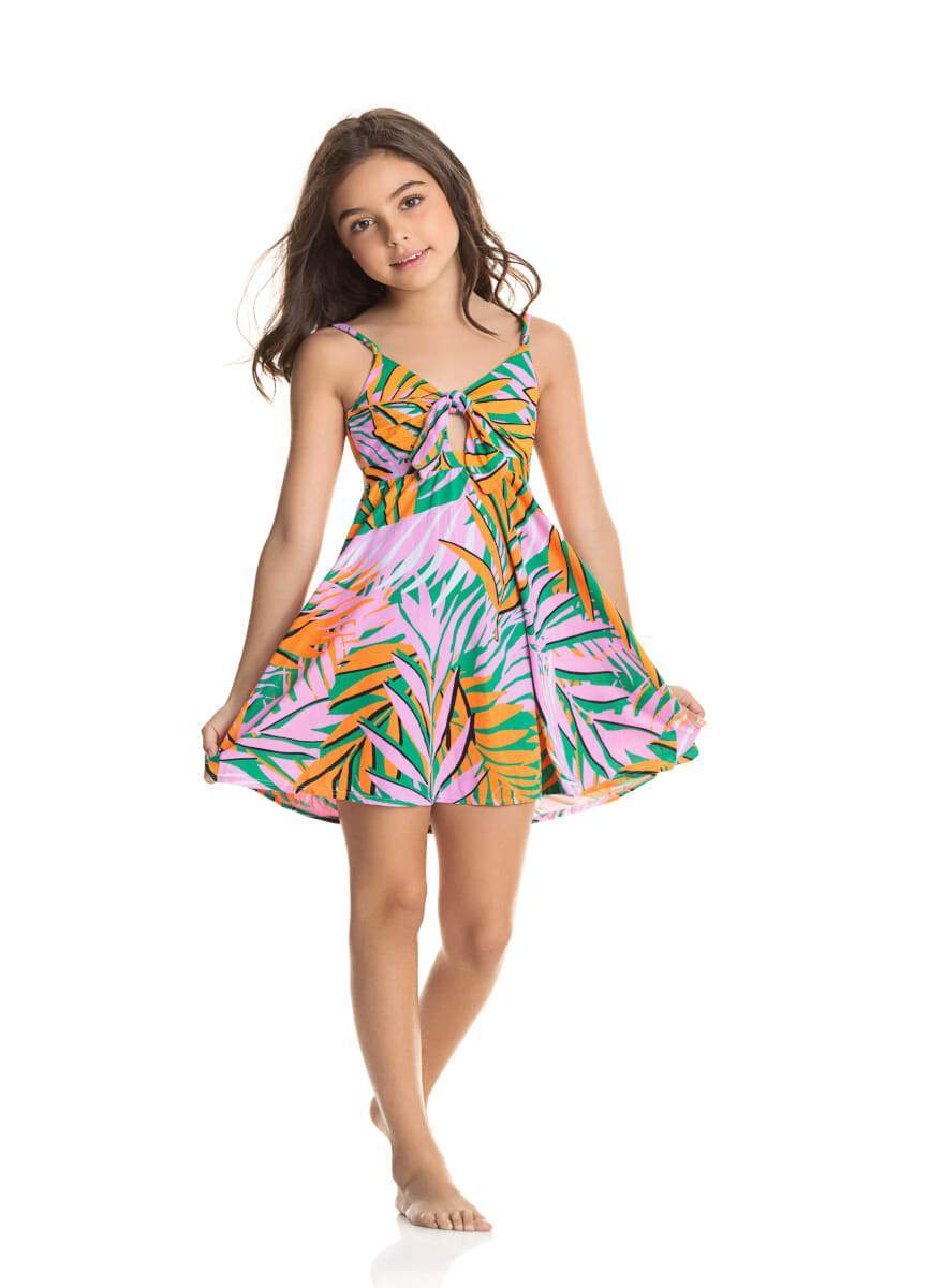 Palm Trees Drizzle 2 Way Short Dress LITTLE GIRLS CLOTHING MAAJI