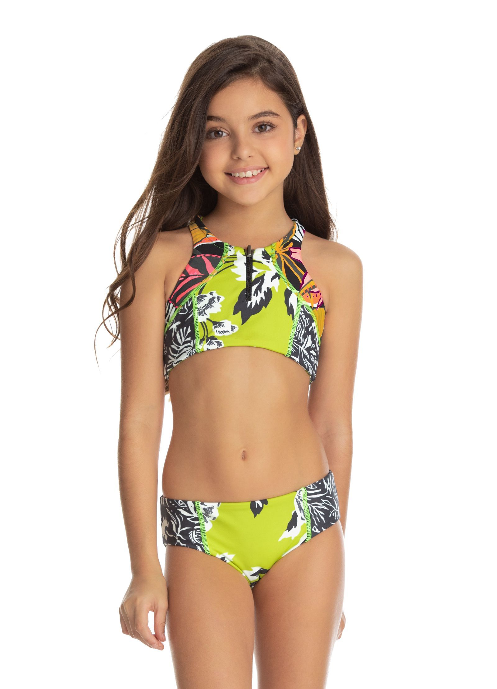 Siberian Tiger Zip Front Bikini Set GIRLS SWIMWEAR MAAJI