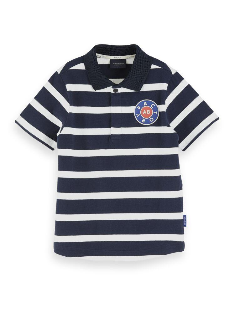 Stripe Polo with Badge BOYS CLOTHING SCOTCH SHRUNK