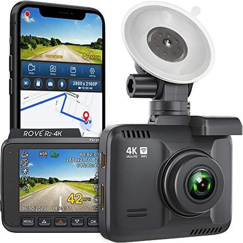 "Rove R2-4K Dash Cam Built in WiFi GPS Car Dashboard Camera Recorder with UHD 2160P, 2.4"" LCD, 150° Wide Angle, WDR, Night Vision - Wireless"