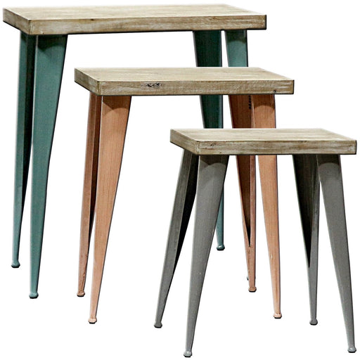 """Sapota"" Set Of Tables w. Wood Tops and Metal Legs"