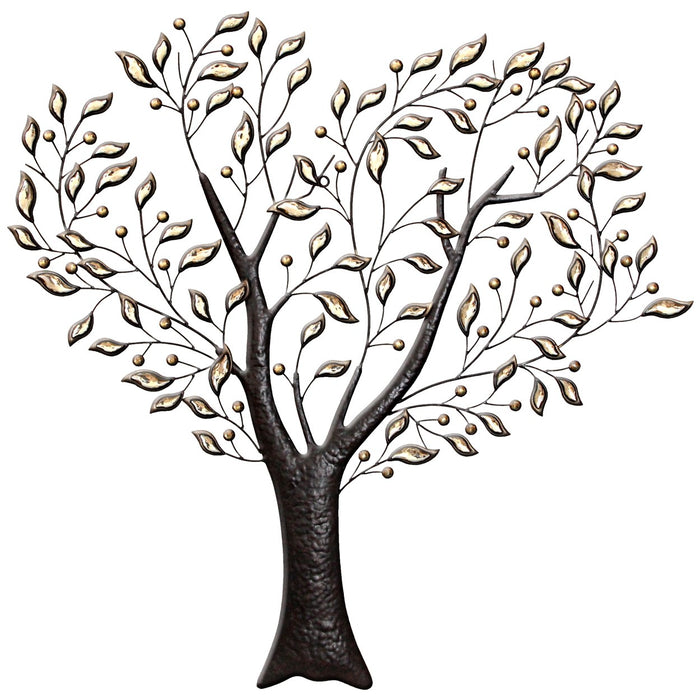 Metal Wall Art Heart Tree w. Amber Gems