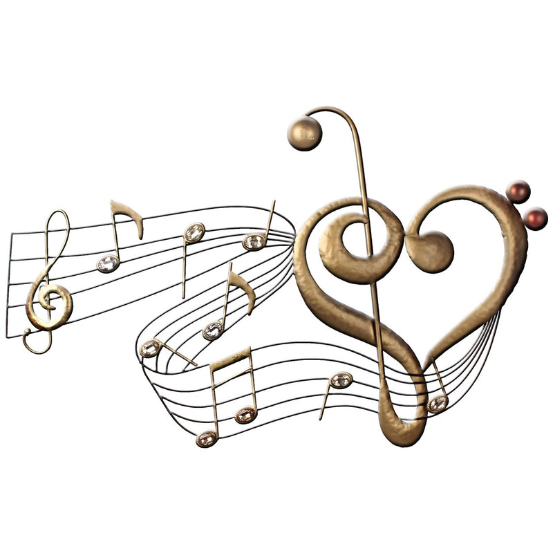Metal Wall Art Music River with Heart & Gems