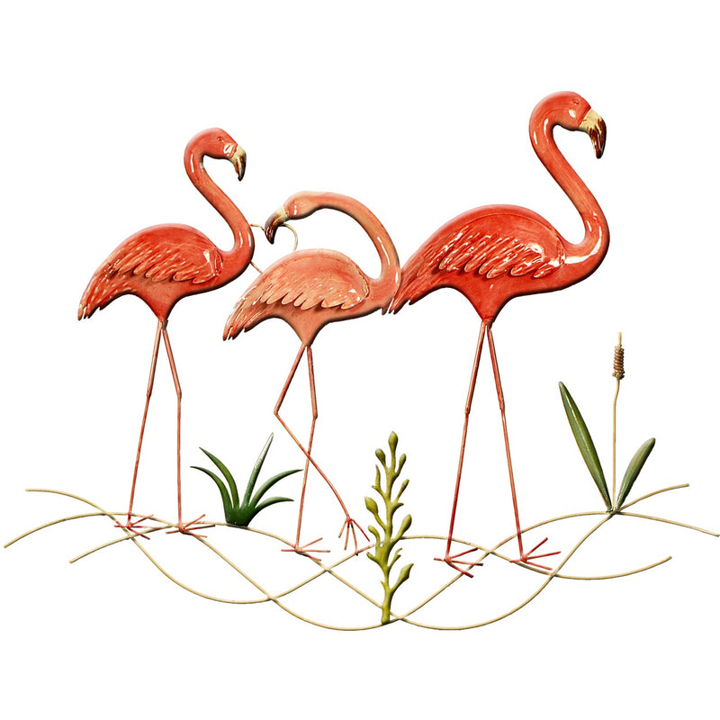 Metal Wall Art Pretty Flamingo 83x65cm