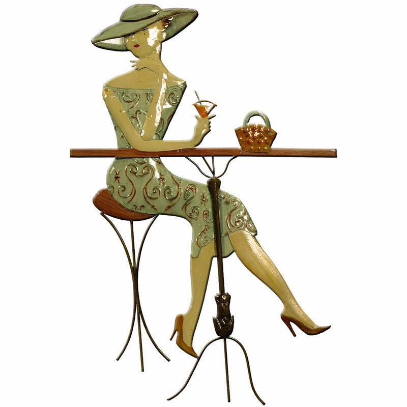 Metal Wall Art Cocktail Lady 41x61cm