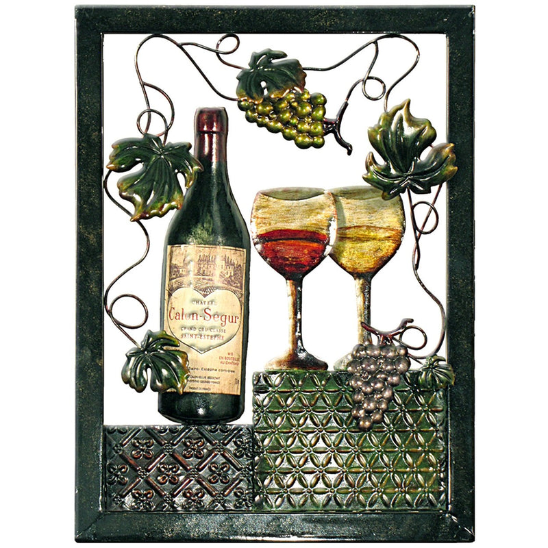 Metal Wall Art Grapes/Wine 43x58cm