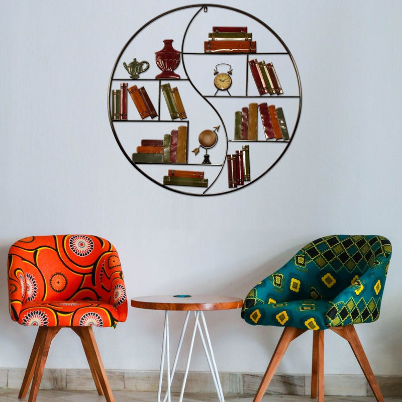 Metal Wall Art Circular Bookshelves w. Clock