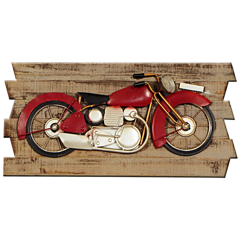 Metal Art Motorbike on Wood Plaque