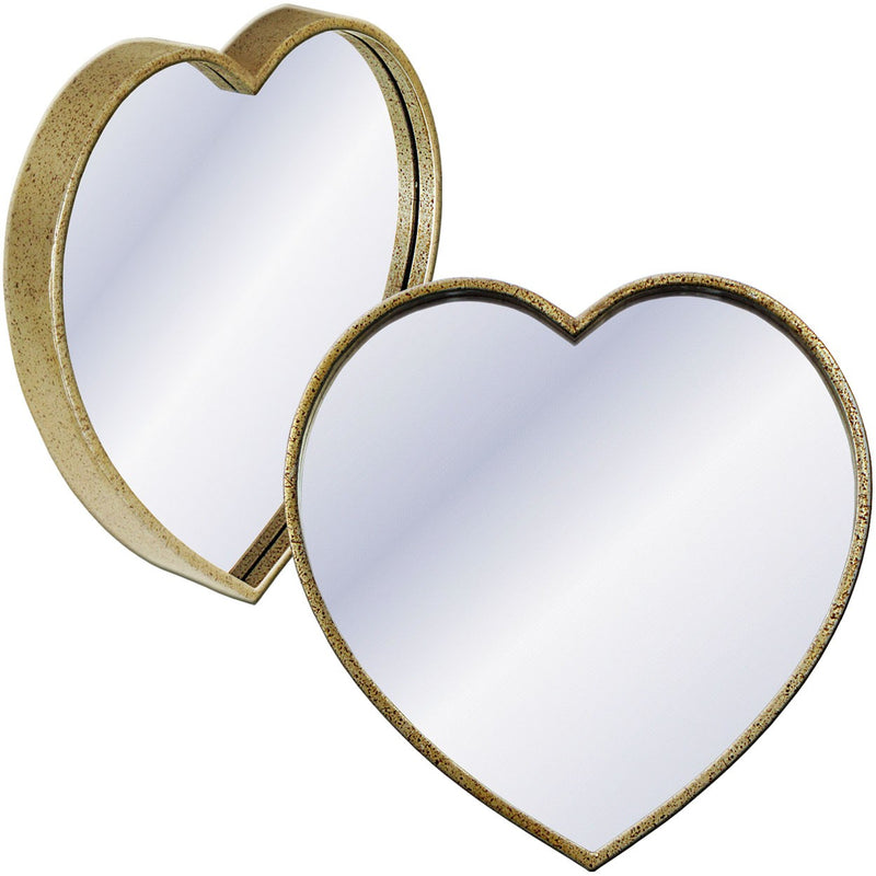 Metal Heart Wall Mirror 41x41cm