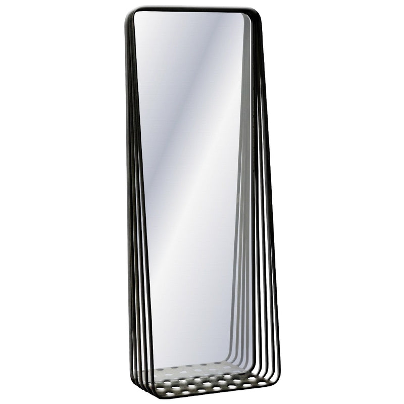 Tall Mirror with Metal Frame & Shelf