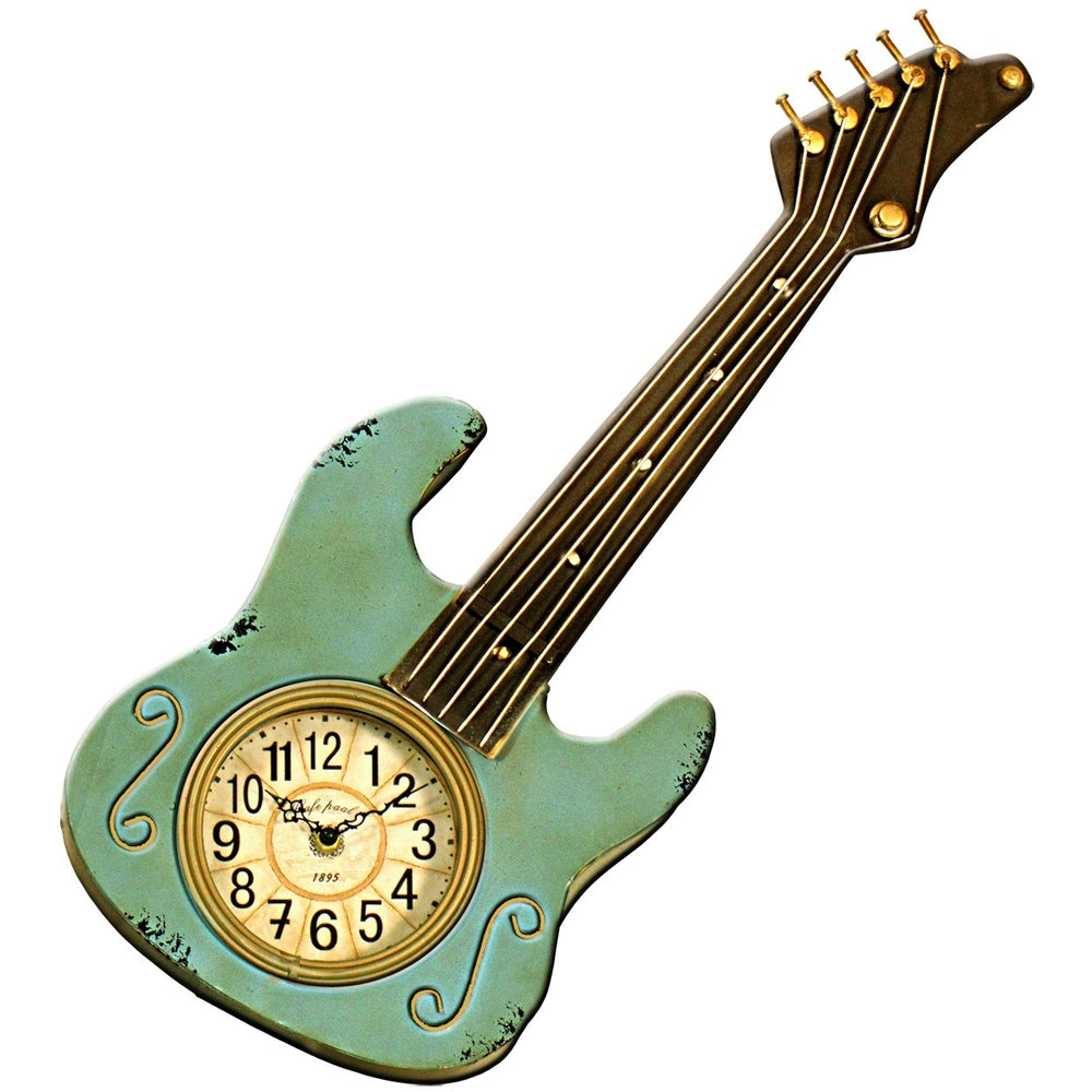 Metal Art Guitar Wall Clock