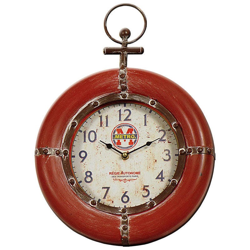 Red Vintage Clock 31x42cm