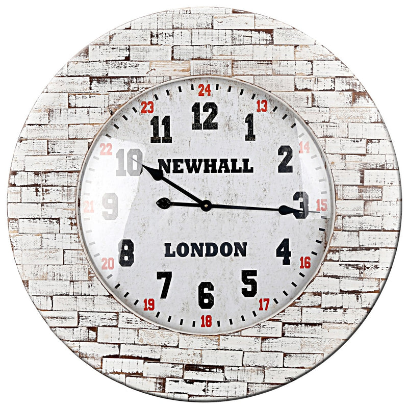 White Brick-Effect Wall Clock