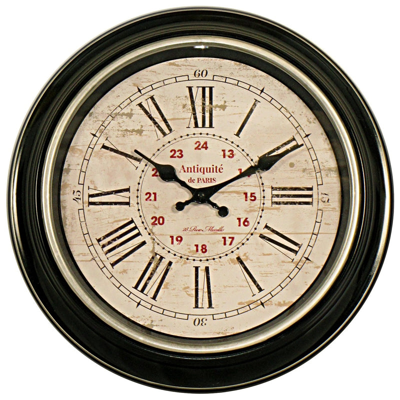 Antique Style Wall Clock - Black