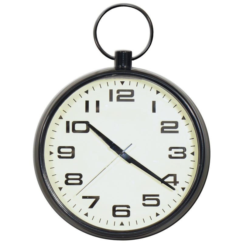 Black Wall Clock with fob