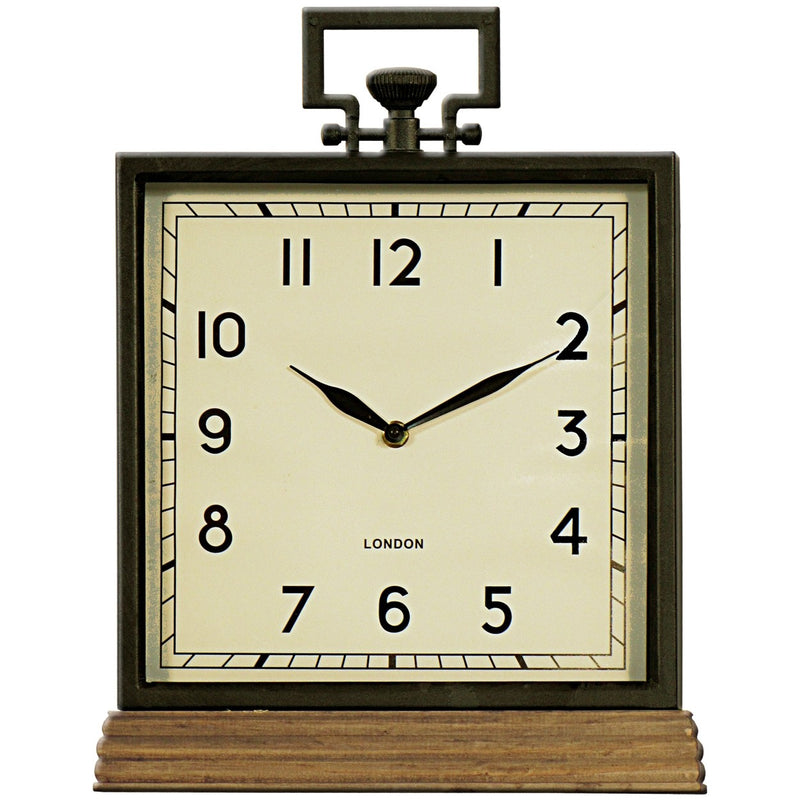 Metal Mantle Clock w. Fob & Wood Base 30x40cm