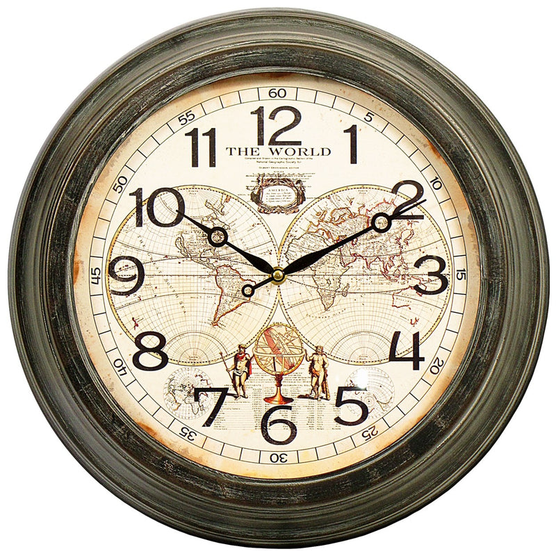 World Map Wall Clock Round