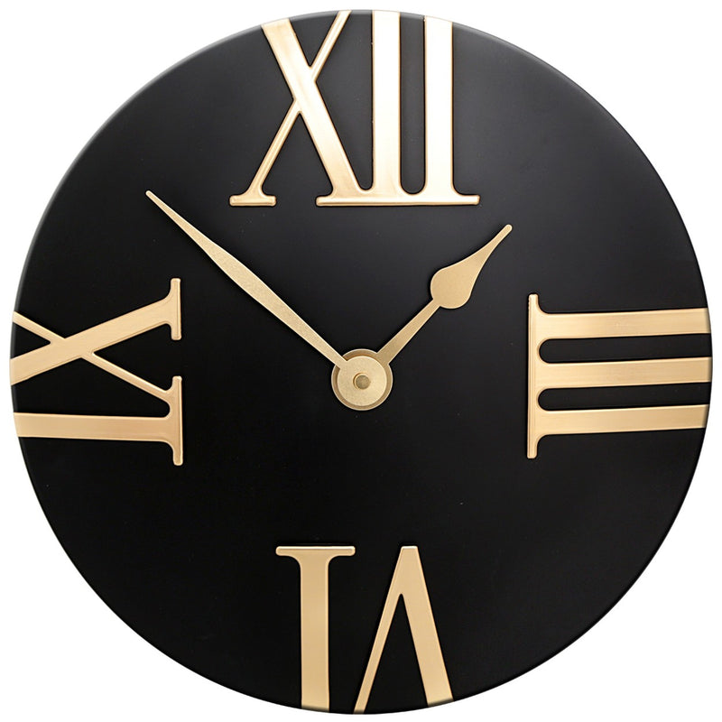 Black Wall Clock with Gold Numerals