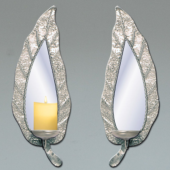Mirrored Leaf Wall Sconce / Mirror Grey