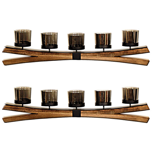 5 Glass T-lite Holders on Curved Mango Wood Base