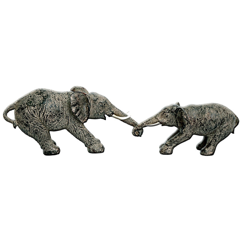 Elephants with Trunks Linked for Tug of War Ornament