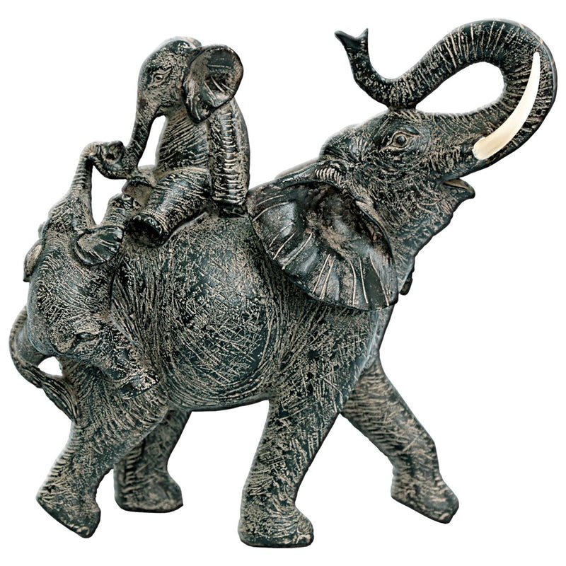 Bronze Elephant with Climbing Babies