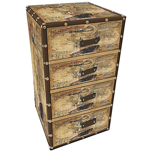 4-Drawer Suitcase chest with antique nautical design.