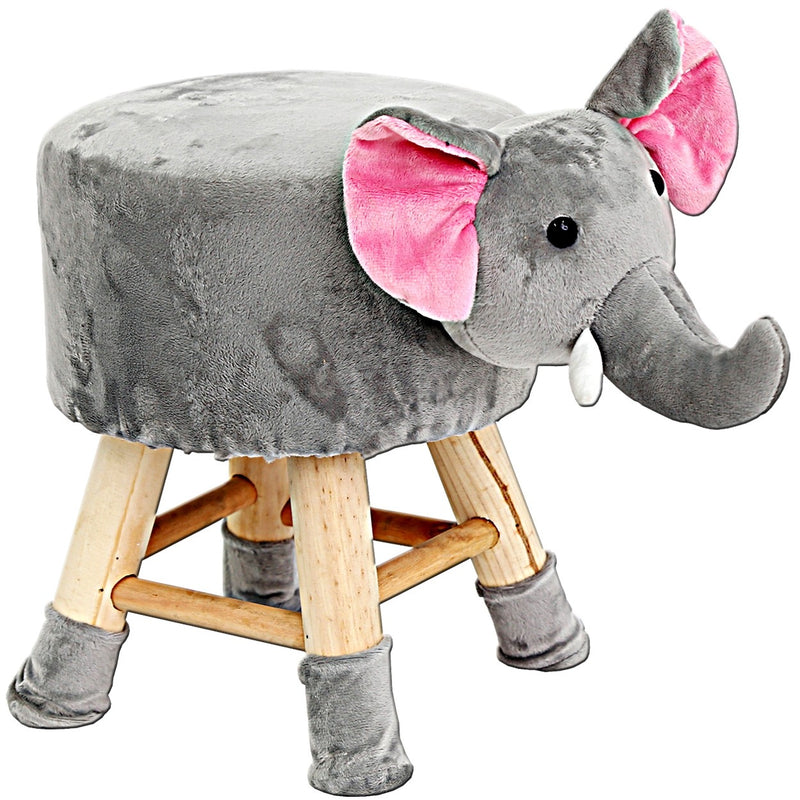 Wood Elephant Child's Stool w. Woolly Seat