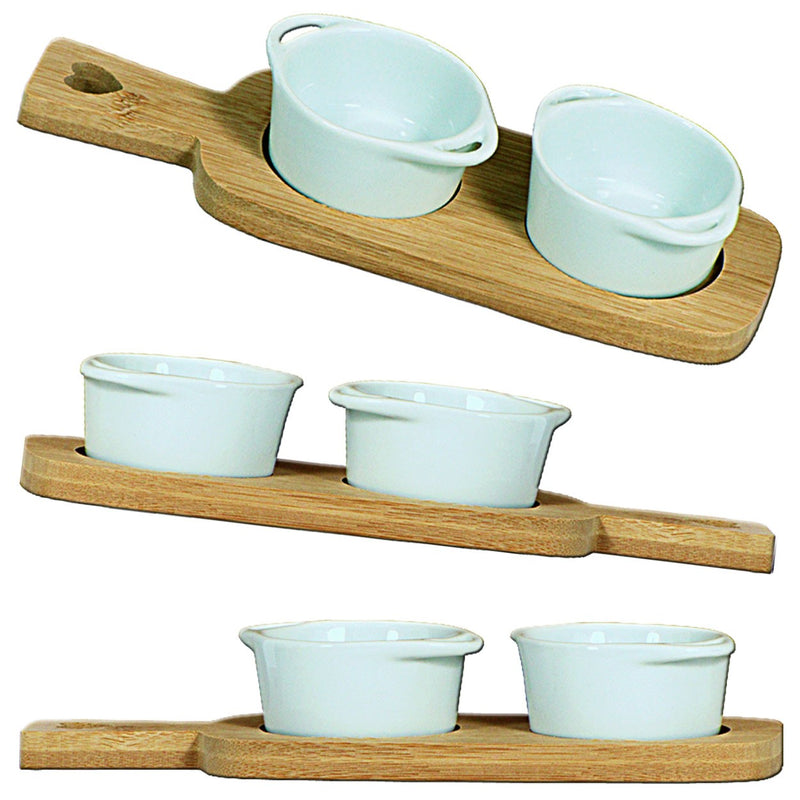 Bamboo Tray with 2 Dip Dishes