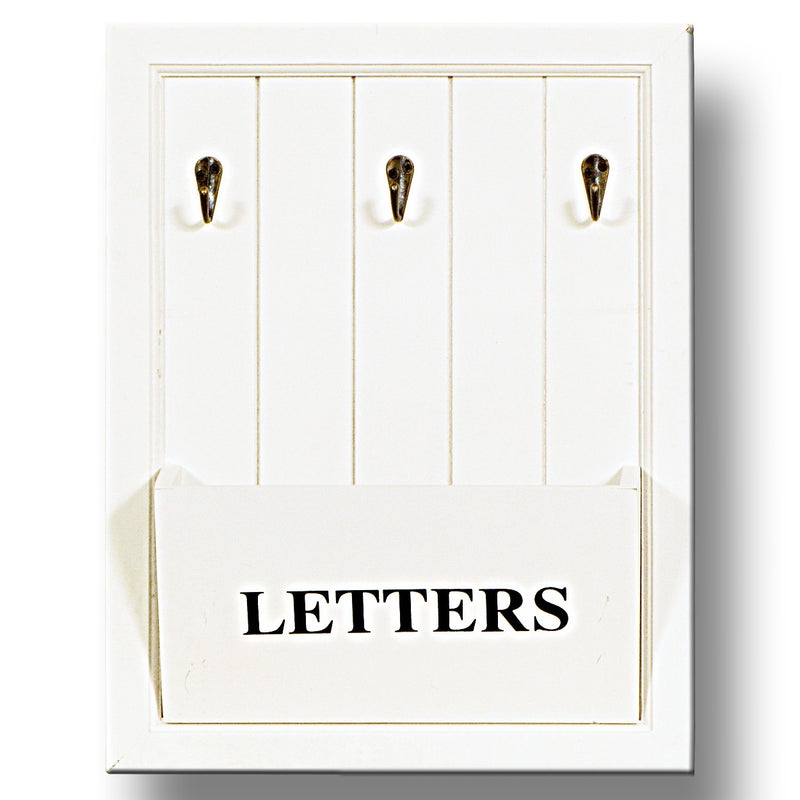 Cottonwood White Wall Letter Rack with Hooks