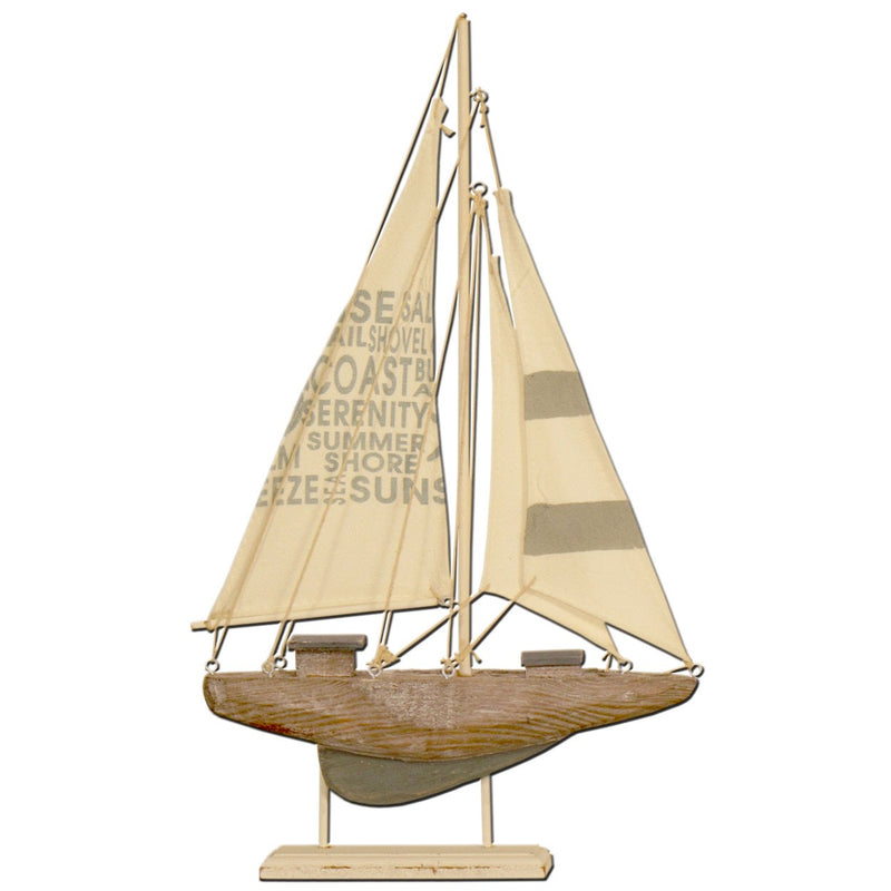 Wood yacht with canvas sails on stand