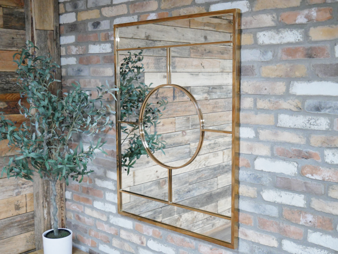 Gold Rectangle Paneled Mirror
