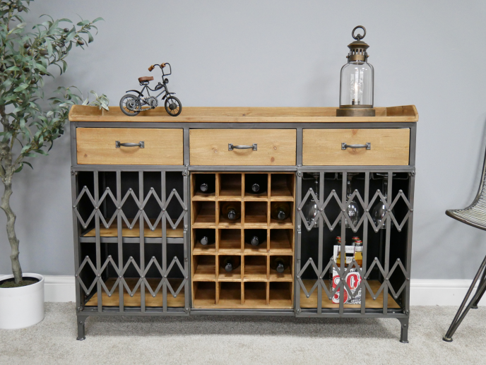 Industrial Wine Cabinet with Shutters