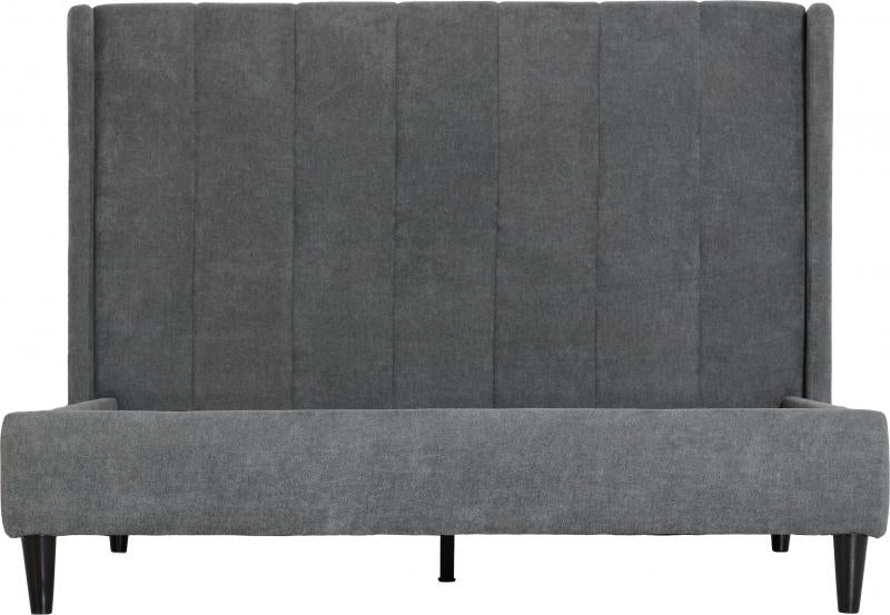 "Amelia 4'6"" Bed in Dark Grey Fabric"