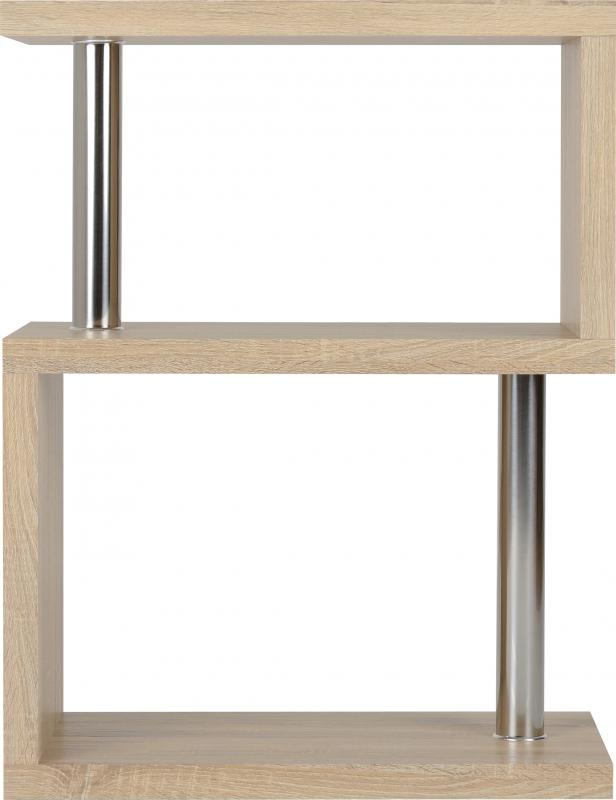 Charisma 3 Shelf Unit in Light Sonoma Oak Effect Veneer/Chrome