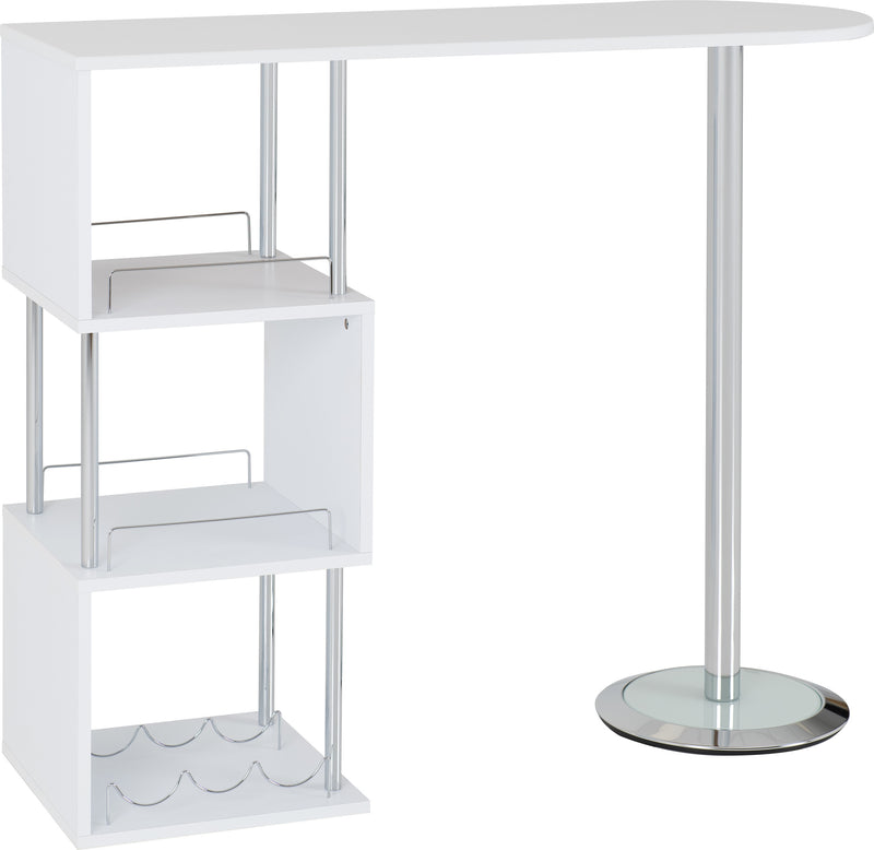 Charisma Home Bar Table in White/Chrome