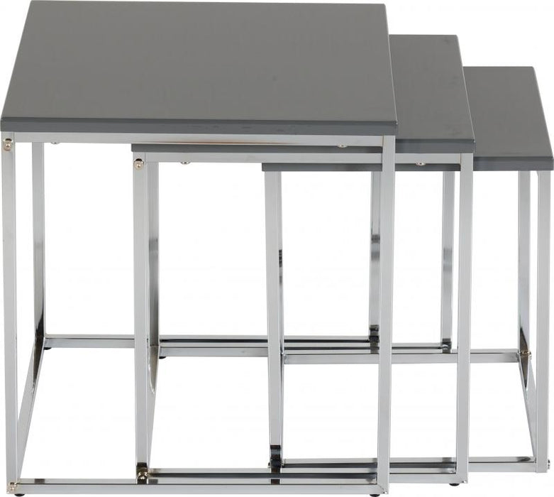 Charisma Nest of Tables in Grey Gloss/Chrome