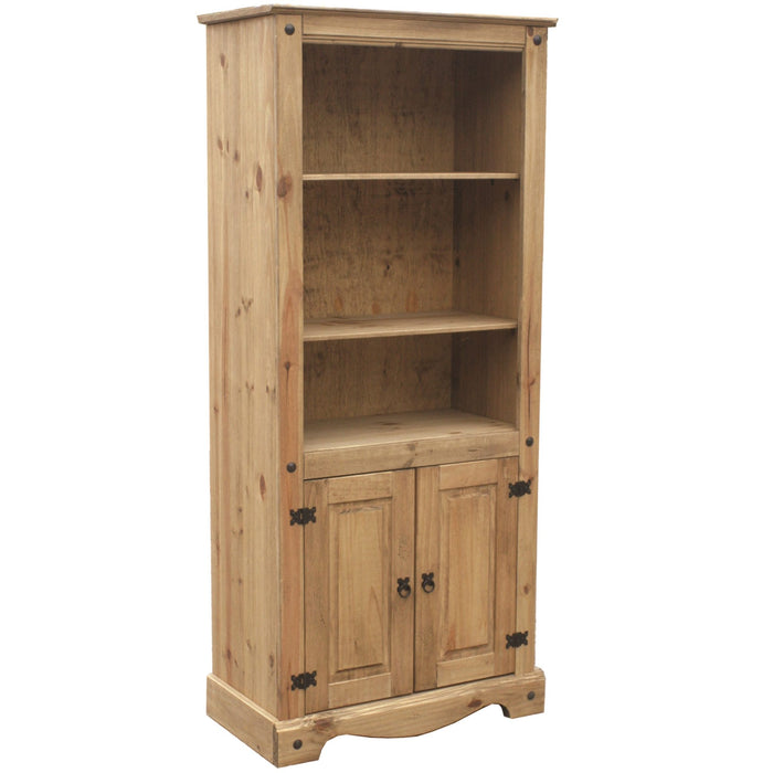 Bella 2 Door Bookcase – Waxed Pine
