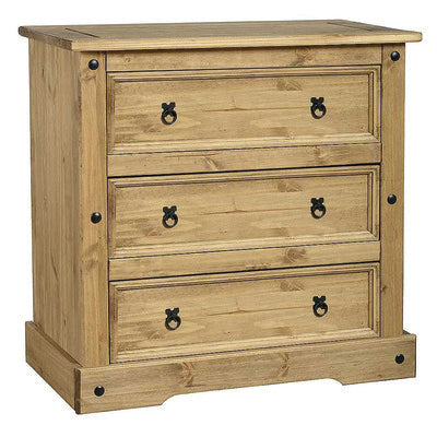 Bella 3 Drawer Chest – Waxed Pine