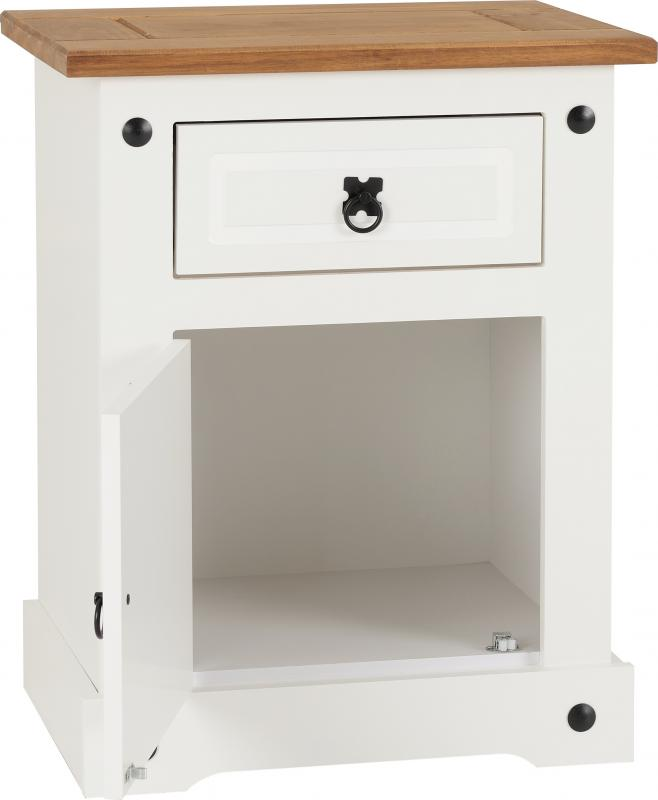 Corona 1 Drawer 1 Door Bedside Cabinet in White/Distressed Waxed Pine