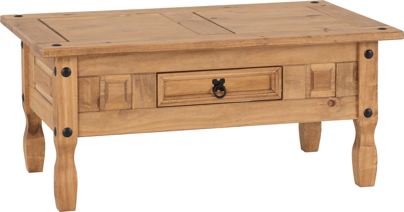 Corona 1 Drawer Coffee Table in Distressed Waxed Pine