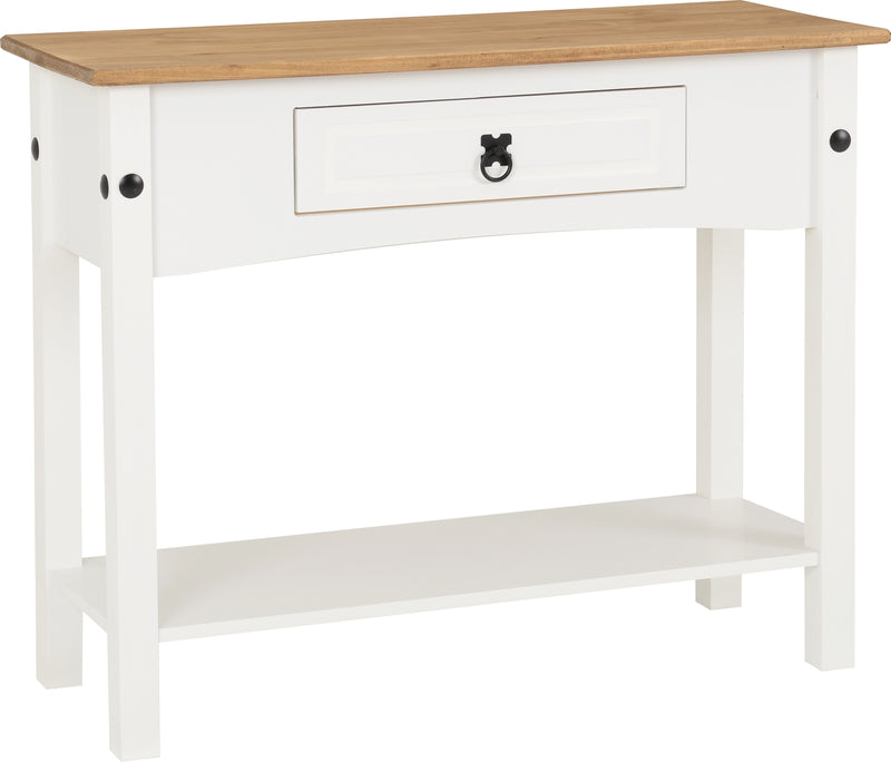 Corona 1 Drawer Console Table with Shelf in White/Distressed Waxed Pine