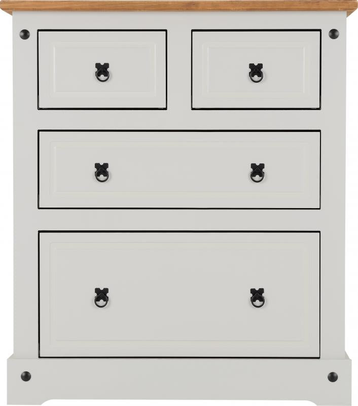 Corona 2+2 Drawer Chest in Grey/Distressed Waxed Pine