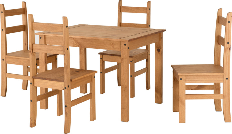 Corona Budget Dining Set in Distressed Waxed Pine