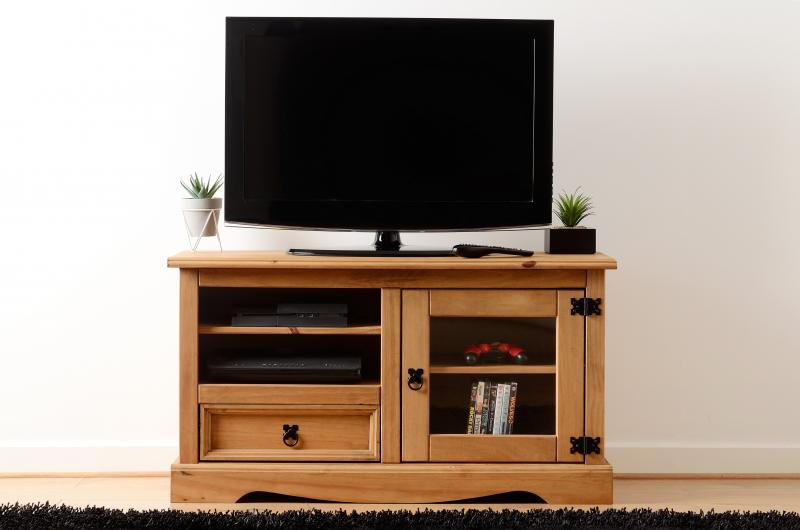 Corona Entertainment Unit in Distressed Waxed Pine/Glass